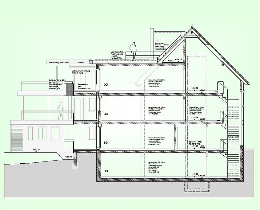 Mehrfamilienhaus Frickenhausen Schnitt