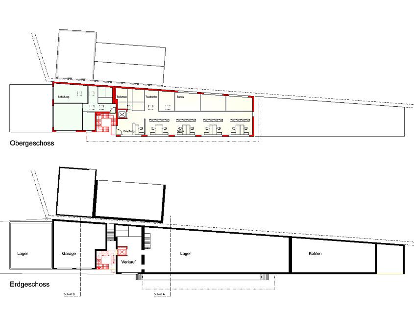 Erweiterung Betriebsgebäude Owen Grundrisse
