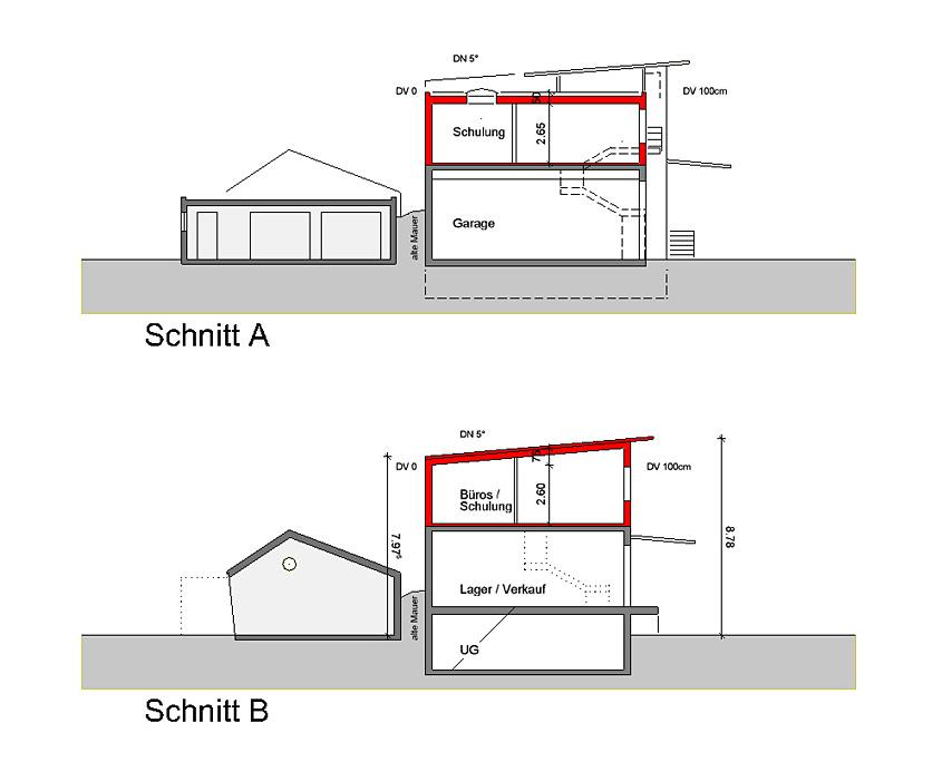 Erweiterung Betriebsgebäude Owen Schnitt